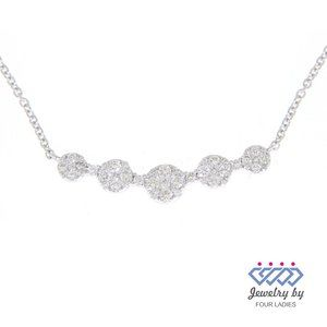 Cluster Diamond Fancy Antique Necklaces White Gold